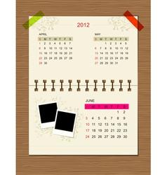calendar2012 june vector image vector image