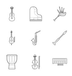 device for music icons set outline style vector image vector image