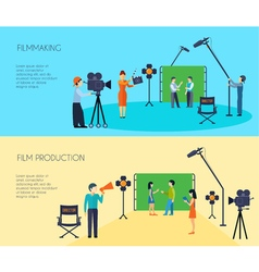 Filmmaking process 2 flat horizontal banners vector