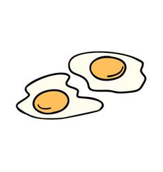 fried eggs morning breakfast vector image vector image