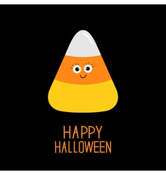 Funny candy corn with face Happy Halloween card vector image vector image
