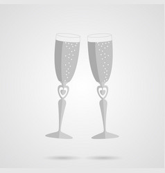 gray two glasses flat icon vector image