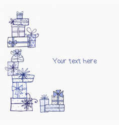 greeting card with blue pen doodle sketch gift vector image vector image