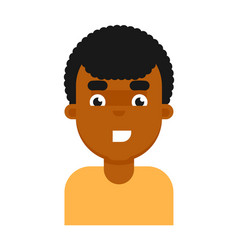 Happy facial expression of black boy avatar vector