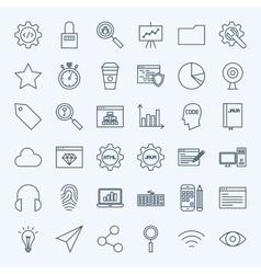 Line web development icons vector