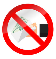 no bribery and salary in envelope symbol vector image