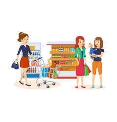 People at store purchased merchandise walk mall vector