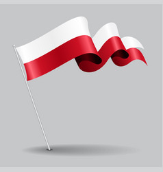 Polish pin wavy flag vector