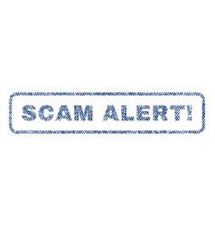 Scam alert exclamation textile stamp vector