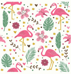 seamless flamingo pattern wallpaper background vector image vector image