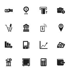 Set of 16 editable banking icons includes symbols vector