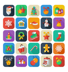 set of christmas and new year icons vector image vector image