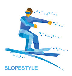 ski slopestyle freestyle skier jumps an obstacle vector image vector image