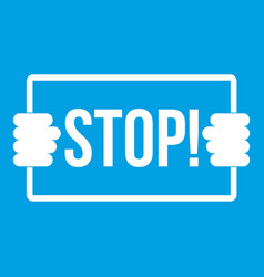 Stop icon white vector