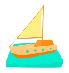 Yacht icon cartoon style vector