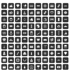 100 wealth icons set black vector