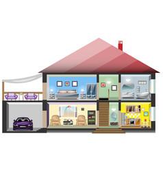 Detailed modern house interior vector