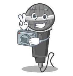Photography microphone cartoon character design vector