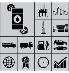 Oil Extraction Processing Use Icons and Symbols vector image