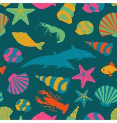 Sea animals seamless pattern flat style vector image