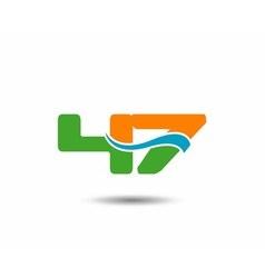 47 anniversary wave logo blue vector