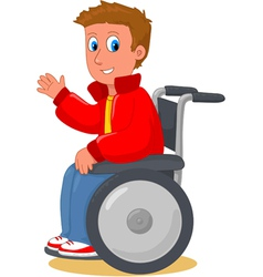 boy on wheelchair vector image