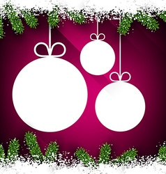 Christmas paper balls on magenta background vector