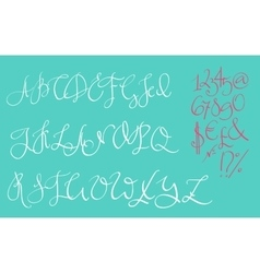 Handwritten pointed ink pen font vector