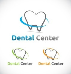 Dental care center logo element design vector