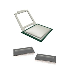Central processing unit chips and pins vector