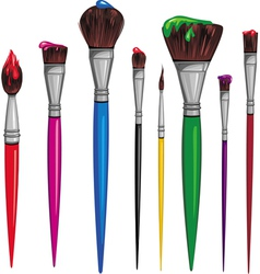 different paintbrush vector image