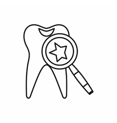 Tooth with magnifying glass icon outline style vector