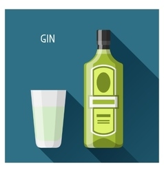 Bottle and glass of gin in flat design style vector