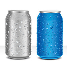 Aluminum cans grey and blue with many water drops vector