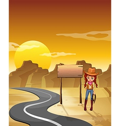 Cowgirl road signboard vector