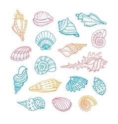 Doodle set of seashells vector image vector image