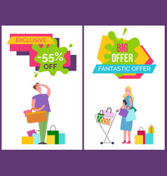 Exclusive -55 off and big offer vector