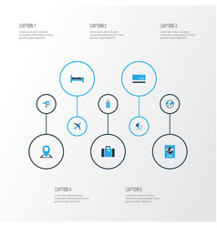 Exploration colorful icons set collection of bed vector