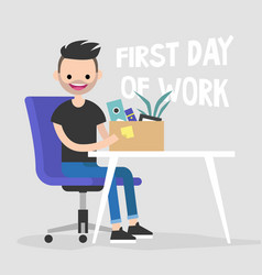 First day of work young character holding a box vector