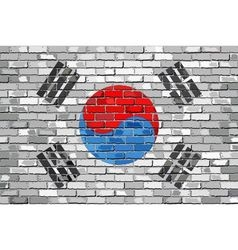 Flag of South Korea on a brick wall vector image vector image