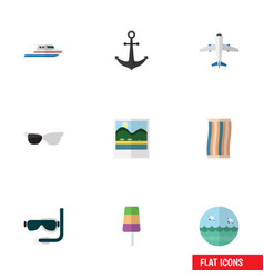 Flat icon beach set of ship hook scuba diving vector