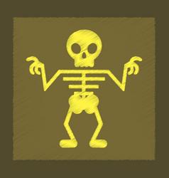 Flat shading style icon halloween skeleton vector