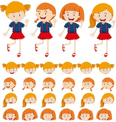 Girls and different facial expressions vector image