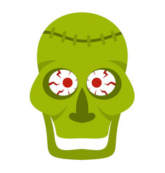 Green zombie skull icon isolated vector