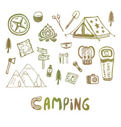 Hand drawn camping elements summer vacation icons vector