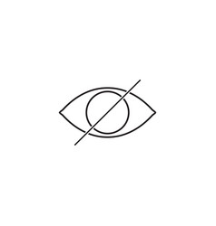 Hide line icon strikeout eye outline vector