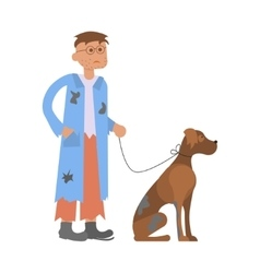Hungry man with homeless dog vector