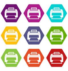 modern laser printer icon set color hexahedron vector image vector image