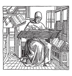 monk copyist vintage vector image vector image