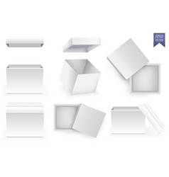 open and closed white paper boxes on white vector image